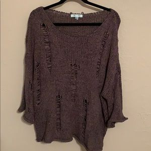 She & Sky Distressed Knit Sweater, L
